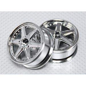 1:10 Scale Wheel Set (2pcs) Chrome 6-Spoke RC Car 26mm