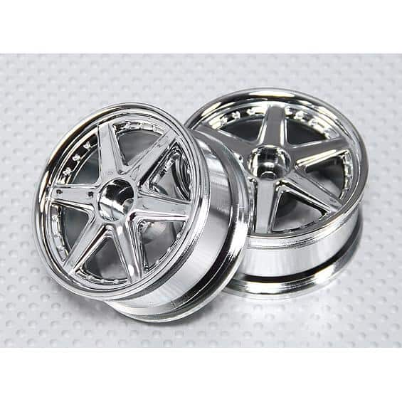 1:10 Scale Wheel Set (2pcs) Chrome 6-Spoke RC Car 26mm