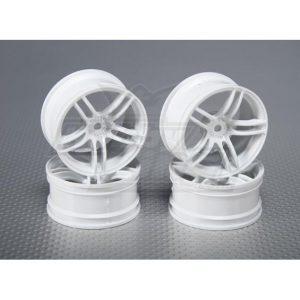 1:10 Scale Wheel Set (4pcs) White Split 5-Spoke RC Car 26mm