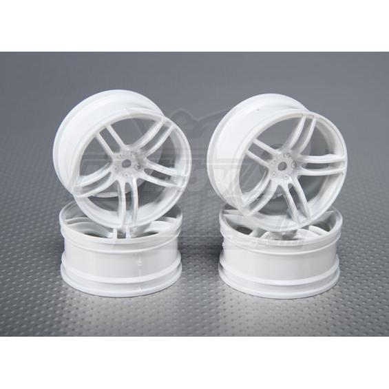 1:10 Scale Wheel Set (4pcs) White Split 5-Spoke RC Car 26mm