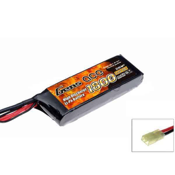 Gens ace 1800mAh 7.4V 20C 2S1P Airsoft Lipo Battery Pack