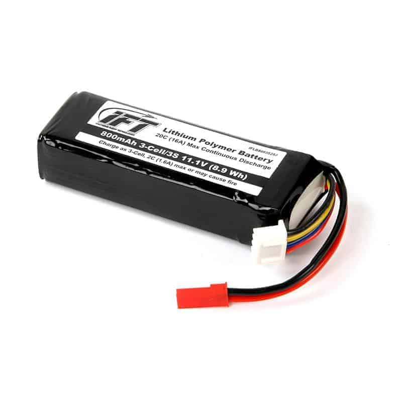 800mAh 3-Cell/3S 11.1V 20C LiPo Battery, JST Connector: Evol