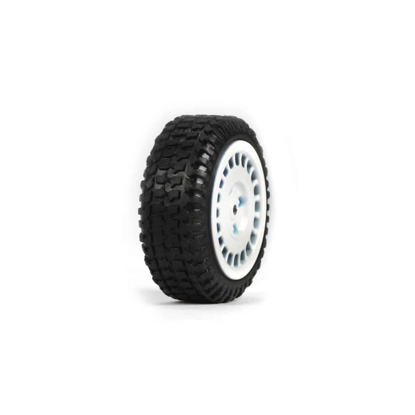 Tires, Mounted, White (4): Micro Rally