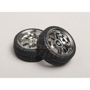 1:10 Scale Wheel/Tire Set (2pcs) 7-Spoke RC Car 26mm
