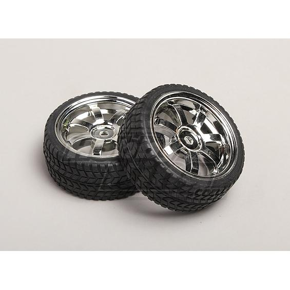 1:10 Scale Wheel/Tire Set (2pcs) 7-Spoke RC Car 26mm