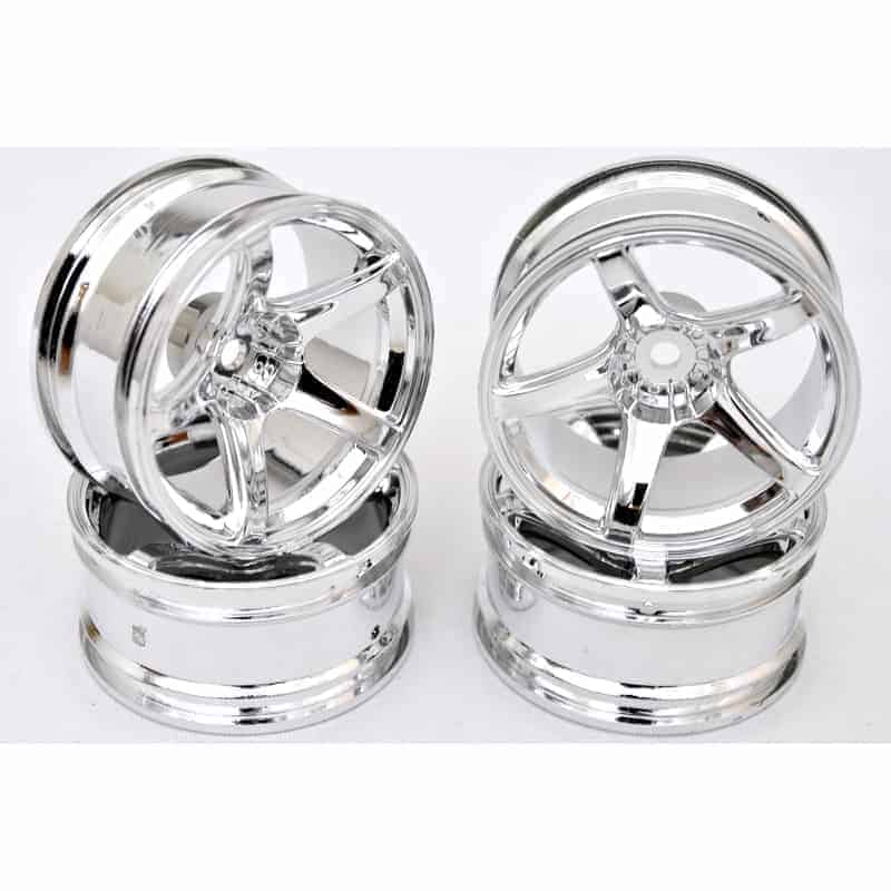 1/10 RC Car 5 Spoke 9mm Offset 26mm Drift Wheel Rim Set - Silver