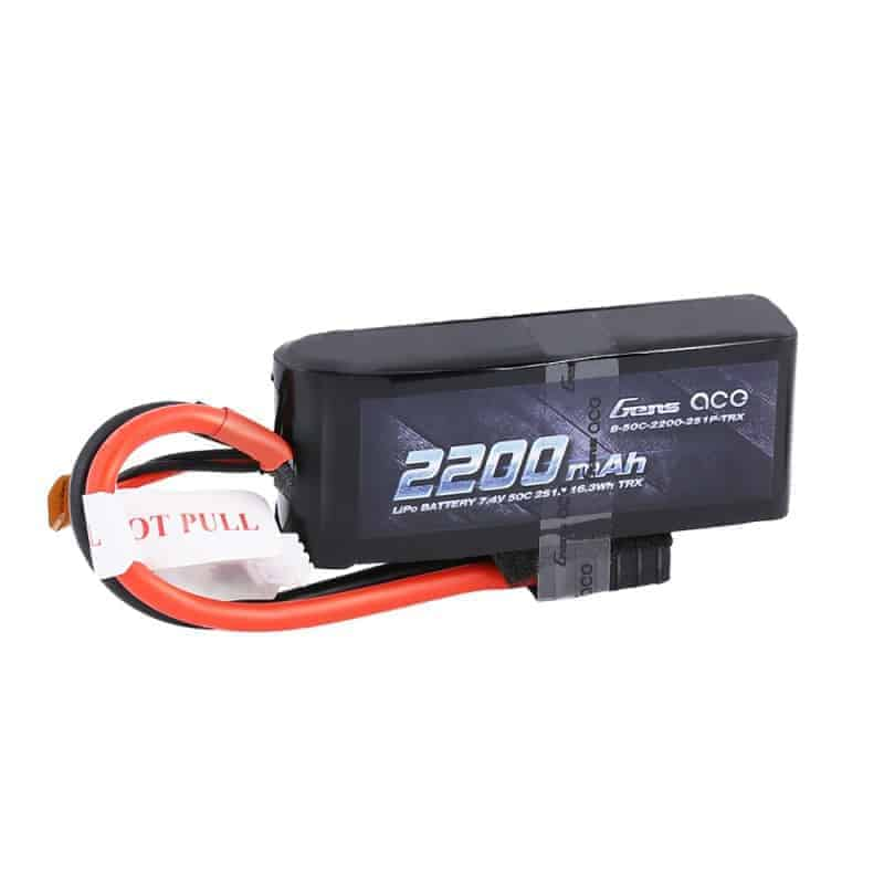 Gens ace 2200mAh 7.4V 50C 2S1P Lipo Battery W/TRX Connector