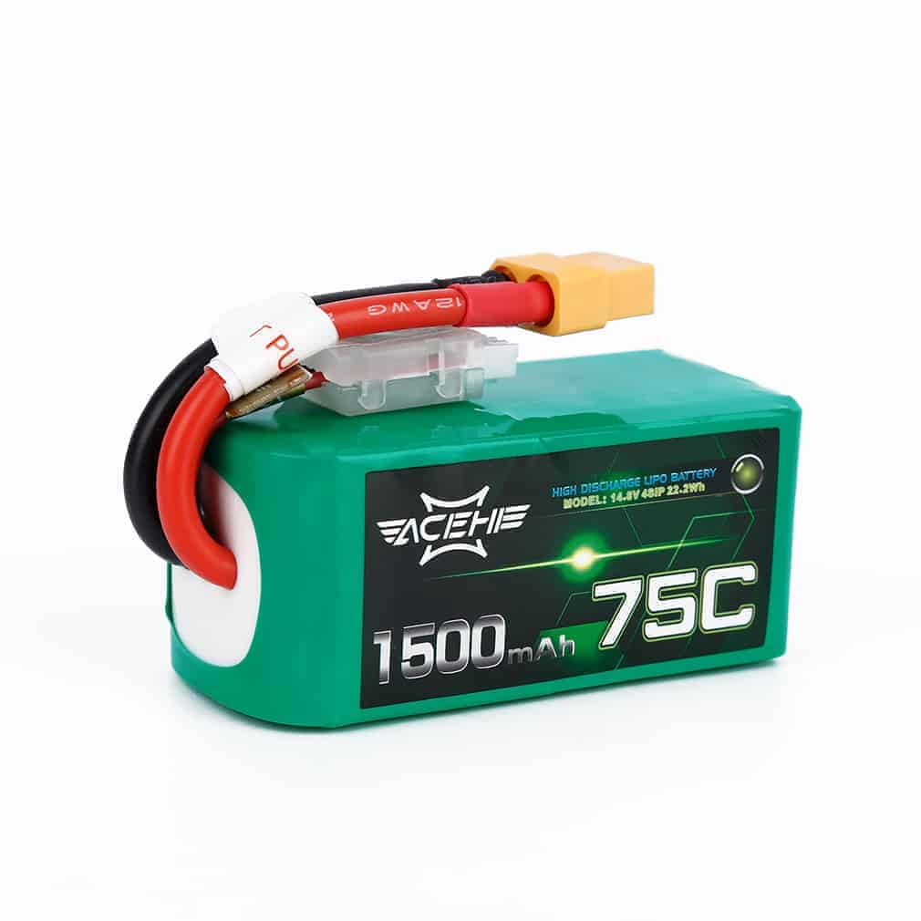 Acehe 1500mAh 14.8V 75C 4S1P High Discharge Lipo Battery Pack